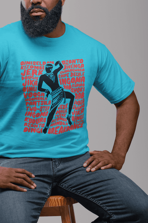 African Dancer Graphic T-Shirt (Blue)