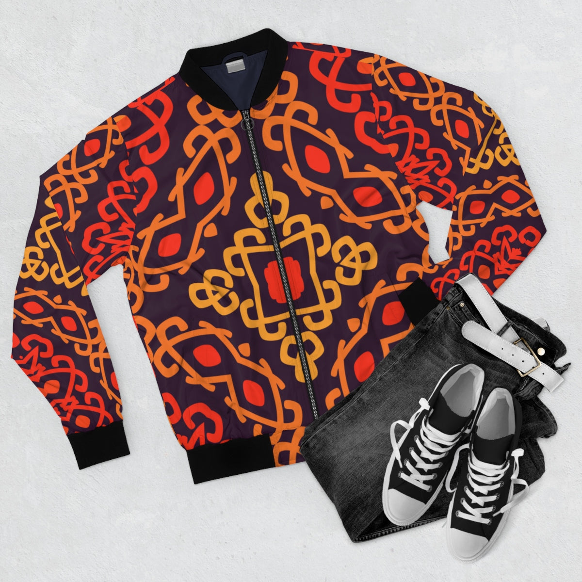 Abstract Tribal Print Bomber Jacket
