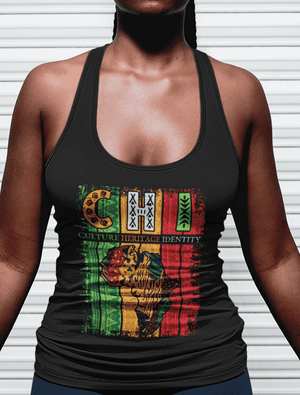 African Pattern Culture Heritage Identity Tank Top (Black)