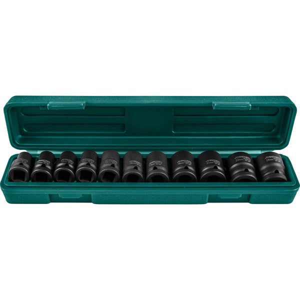 "11 Piece 1/2"" Dr. 6pt Flank Impact Socket Set, 10-24 Mm S03A4111S Jonnesway Tools"