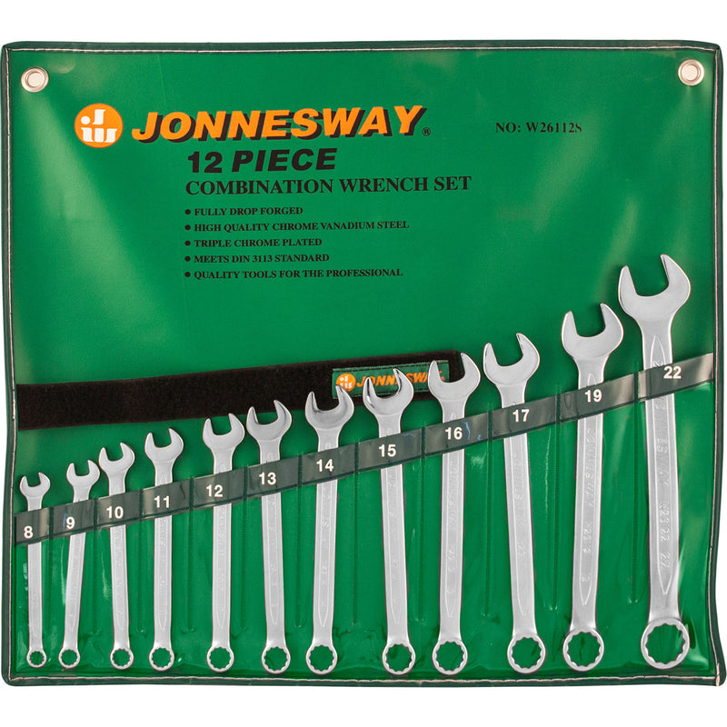 12 Piece Combination Wrench Set, 8-22 Mm W26112S Jonnesway Tools