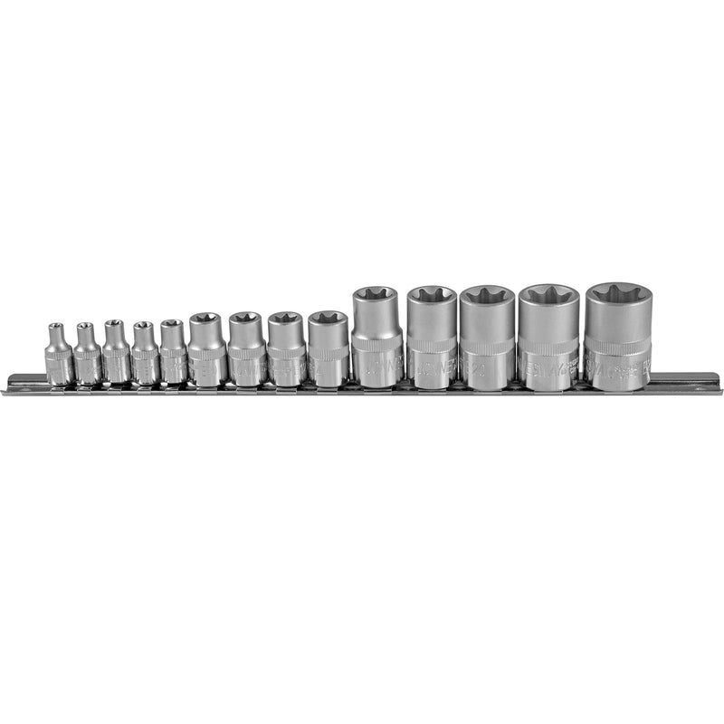 "14 Piece 1/4"" 3/8"" 1/2"" Dr Star Socket Set, E4-E24 S06H414S Jonnesway Tools"