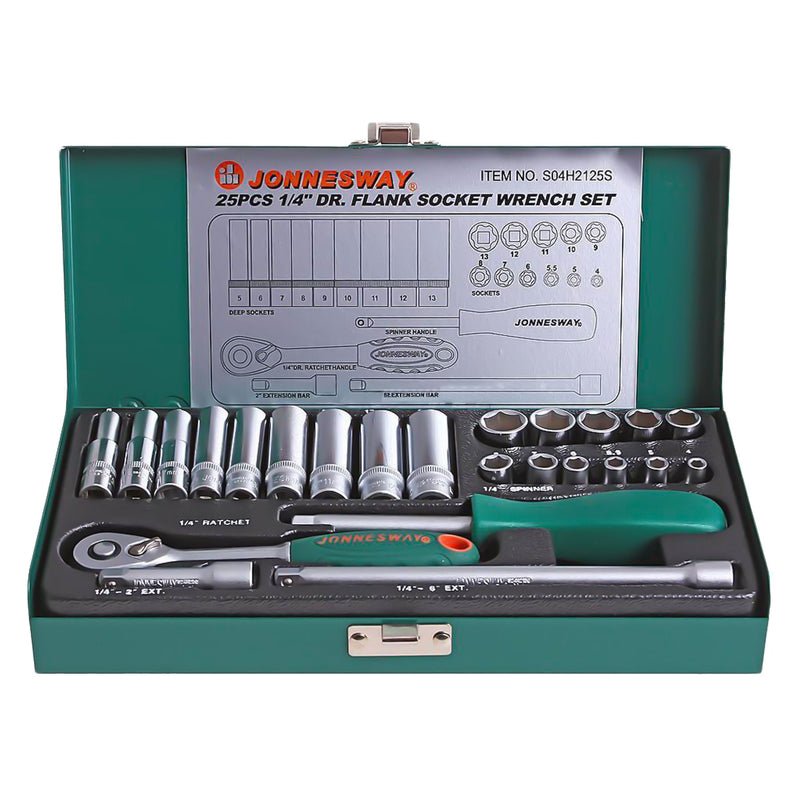 "24 Piece 1/4"" Dr Socket Set, 4-13 mm S04H2125S Jonnesway Tools"