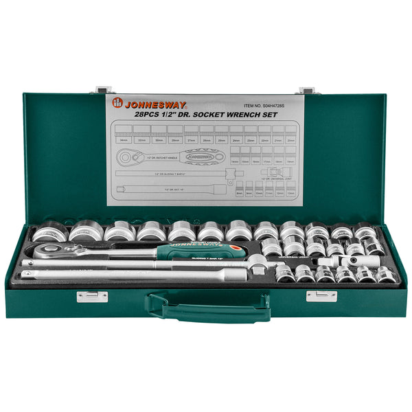 "28 Piece 1/2"" Dr. Socket Set, Size 8-34 mm S04H4728S Jonnesway Tools"