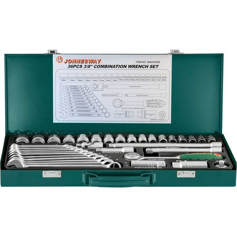 "36 Piece 3/8"" Combination Tool Set S04H3536S Jonnesway Tools"