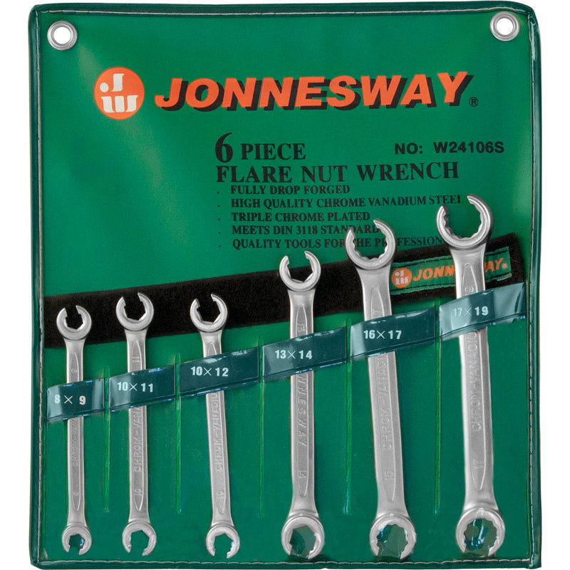 6 Piece Flare Nut Wrench Set, 8-19 mm W24106S Jonnesway Tools