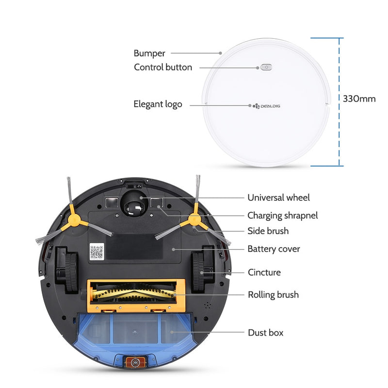 DEALDIG Robvacuum 8 Robot Vacuum Cleaner with WiFi Connectivity Work for Alexa Gyroscope Navigation App Remote Control Low Noise
