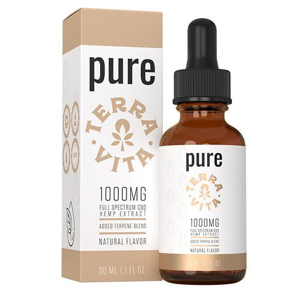 TerraVita Pure Full Spectrum CBD Hemp Extract Natural 1000mg - 30ml