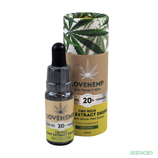 Love Hemp CBD Oil Natural 2000mg (20%) - 10ml