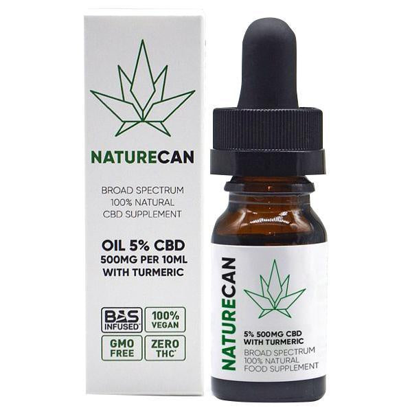 Naturecan CBD Broad Spectrum 100% Natural Oil with Turmeric 10ml - 500mg