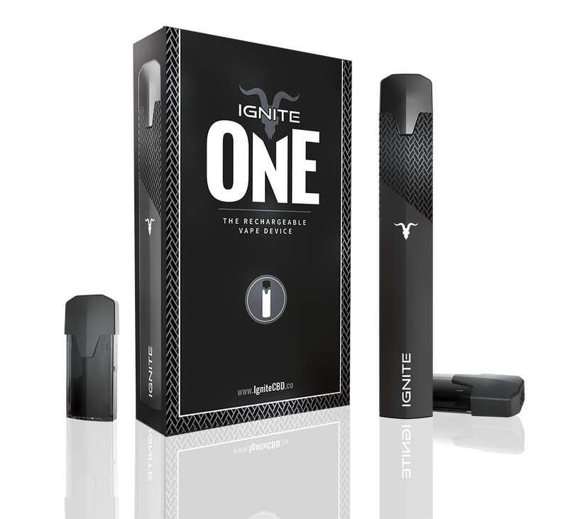 IGNITE CBD ONE BLACK SOFT TOUCH RECHARGEABLE VAPE PEN