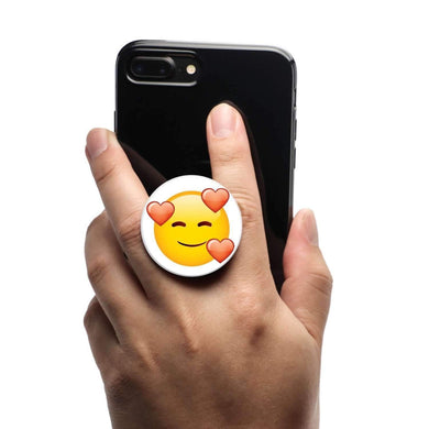 All in One Phone Grip Mount and Stand Emoji Smiling Hearts