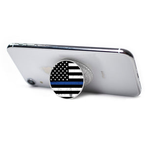 All in One Phone Grip Mount and Stand Police Flag Blue Line