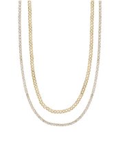 Load image into Gallery viewer, 2環項鍊-Crystal&Gold Chain Necklace Set