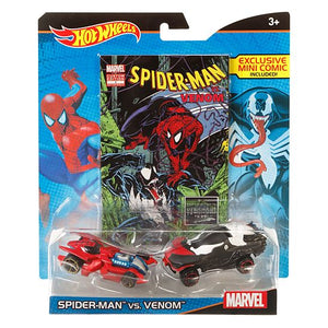 Hot Wheels Marvel Spider-Man vs. Venom Character Car 2-Pack with Mini Comic