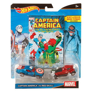 Hot Wheels Marvel Captain America vs. Red Skull Character Car 2-Pack with Mini Comic