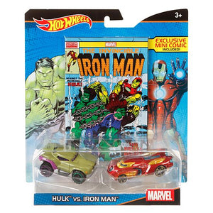 Hot Wheels Marvel Hulk vs. Iron Man Character Car 2-Pack with Mini Comic