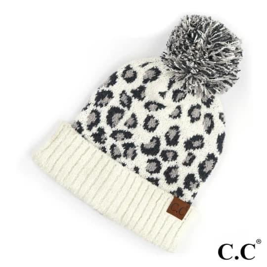 CC White with Leopard Beanie