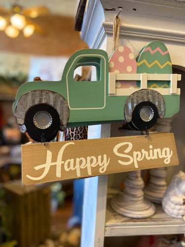 Happy Spring Truck Door Hanger