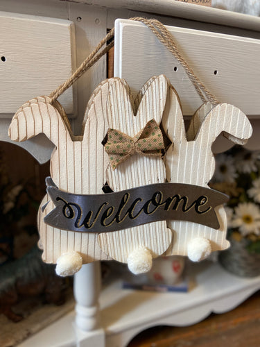 Welcome Bunnies Door Hanger