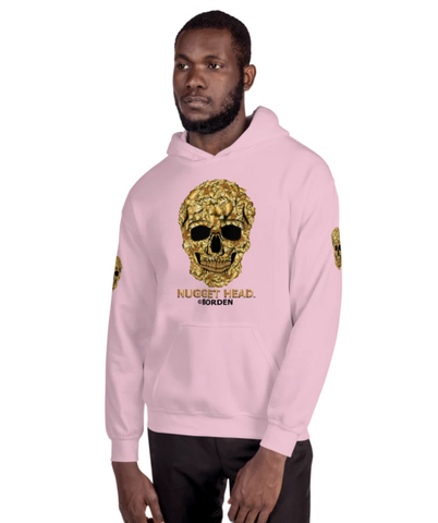 Men's Hoodie Pink with Gold Skull
