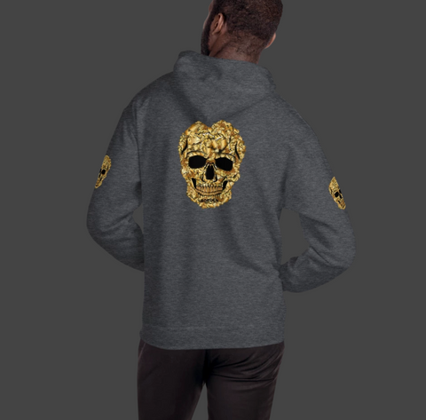 Men's Hoodie Grey with Gold Skull front back and shoulders
