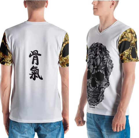 "skull t-shirt gold sleeves Chinese words ""Backbone!"" on back"