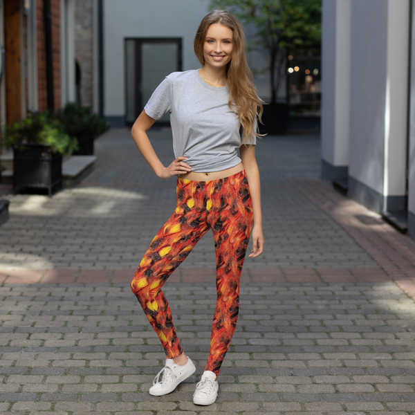 Women's Leggings Nugget Fire Design - Borden Fashion