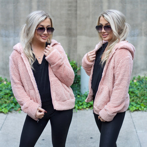 Warmth In You Jacket-Blush