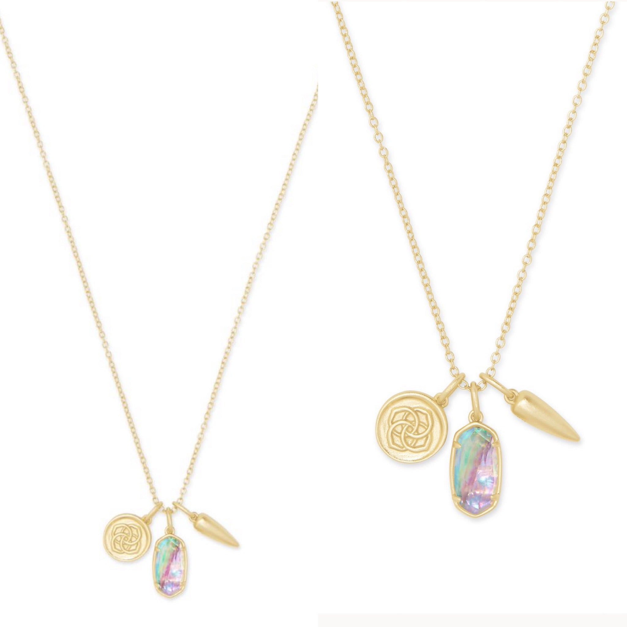 Dira Charm Necklace-Lilac Abalone/Gold
