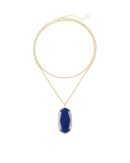 Rae Gold Necklace in Navy Cat's Eye