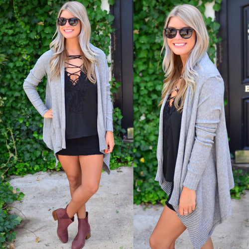 Wrapped In Love Cardigan-Grey