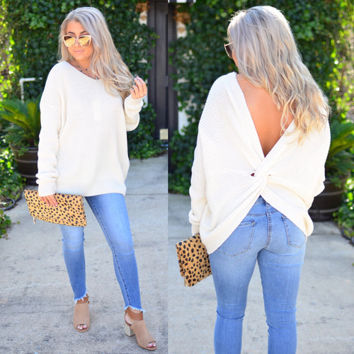 Twisted Love Sweater-Ivory