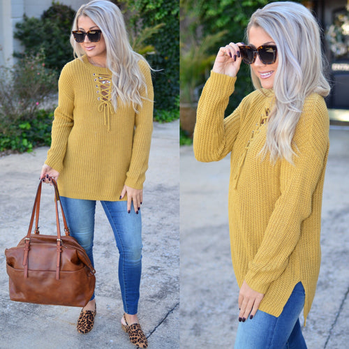 One True Love Sweater- Mustard