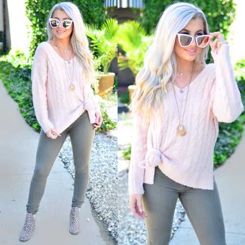 On the Run Sweater- Blush