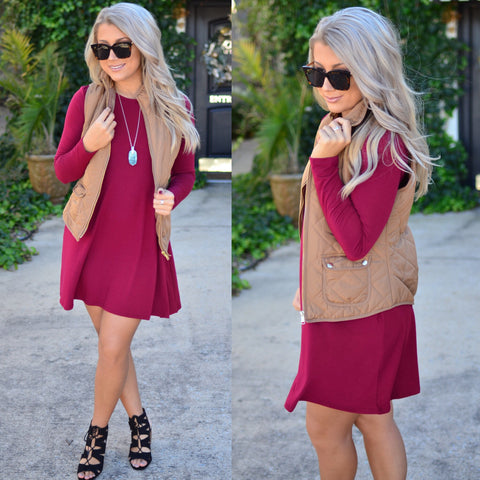 Romantic Life Dress- Wine