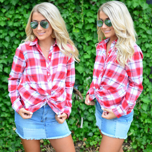 Plaid Babe Top-Red