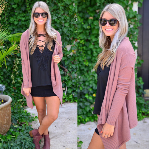 Wrapped In Love Cardigan-Marsala