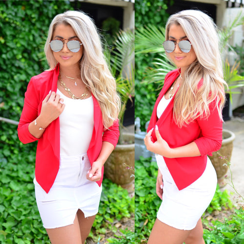 Sophisticated Beauty Blazer-Red