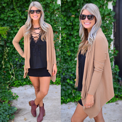 Wrapped In Love Cardigan-Camel