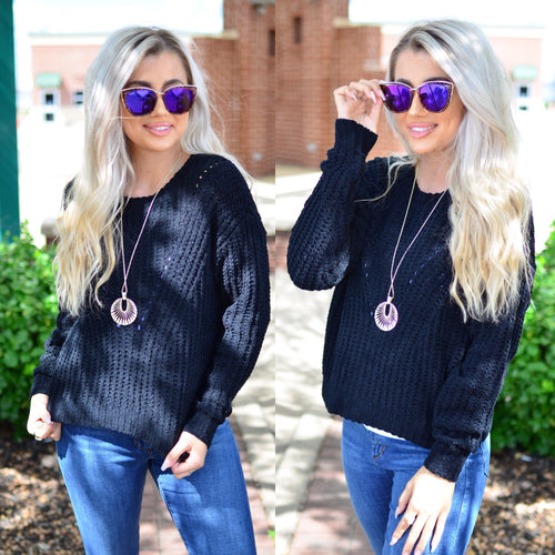 Untangle My Heart Sweater- Black