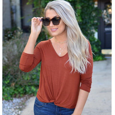 So Alluring Sweater- Rust