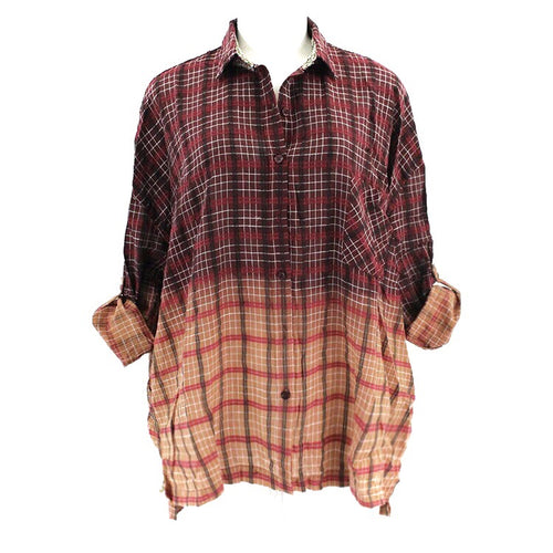 Bleached Boyfriend Plaid-Red