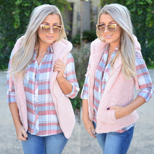 Plaid Times Top- Marsala