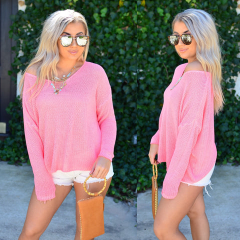 By The Fire Sweater- Blush