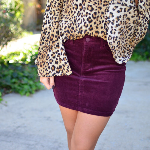 Shine For You Skirt- Wine