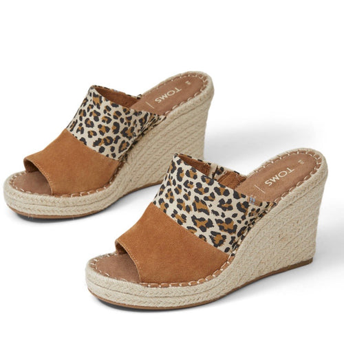 Birch Carmel Brown Leopard Print Suede Women's Monica Mule Wedges