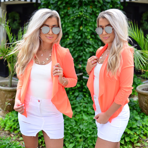 Sophisticated Beauty Blazer-Neon Coral