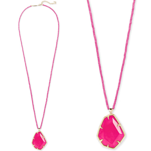 Beatrix Gold Long Pendant Necklace In Pink Agate