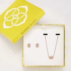 Cade Earrings and Chelsea Necklace Set in Iridescent Peach Cat's
